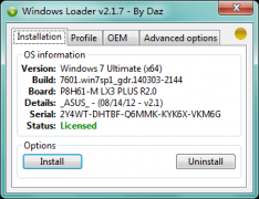 Windows 7 Loader 2.1.7 By Daz Win7激活软件