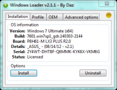Windows7 Loader V2.1.1 By Daz Win7激活软件