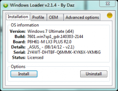 Windows 7 Loader V2.1.4 By Daz Win7激活软件